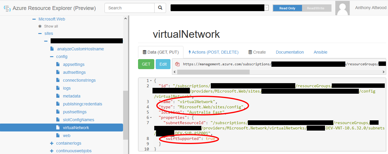 resources.azure.com web app virtualNetwork node
